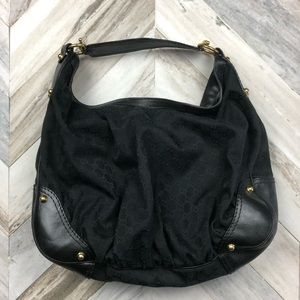 Authentic Gucci Jockey Bag Black Canvas Large